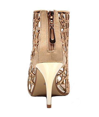 High Womens Gold Heel Heeled Prom Stiletto Evening Sandals Rhinestone Ankle Dress jiandick Bootie vqwdgvO