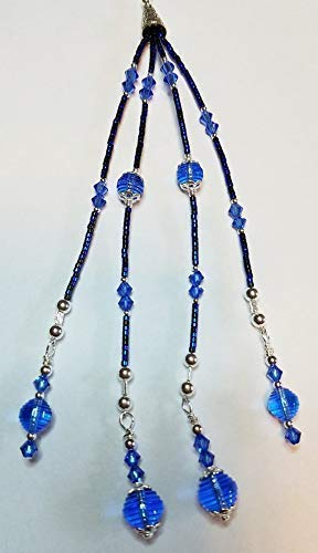 (Vintage Swarovski Sapphire Round Faceted Crystals, Faceted Bicones and Bali Silver Key Ring! Keyring)
