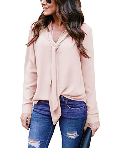 Yidarton Women's Cuffed Long Sleeve Casual V Neck Chiffon Blouses Tops with Tie(Pinkish Khaki,M) - Long Sleeve Womens Blouse