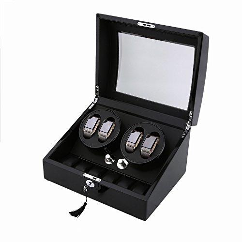 Water-chestnut Watch Winder,Automatic watchbox 10 Watch Winder Case Display Box (ALL BLACK 4+6) by Water-chestnut (Image #9)