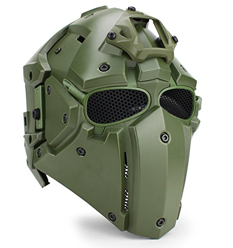 OAREA WoSporT Tactical Obsidian Green GOBL Terminator Helmet & Mask Goggle for Hunting Paintball Military Cosplay Movie Prop
