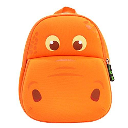Price comparison product image BINGONE Kids Shoulder Bag 3D Cartoon Underwater Sea Animal World 2-year-old Orange Hippo