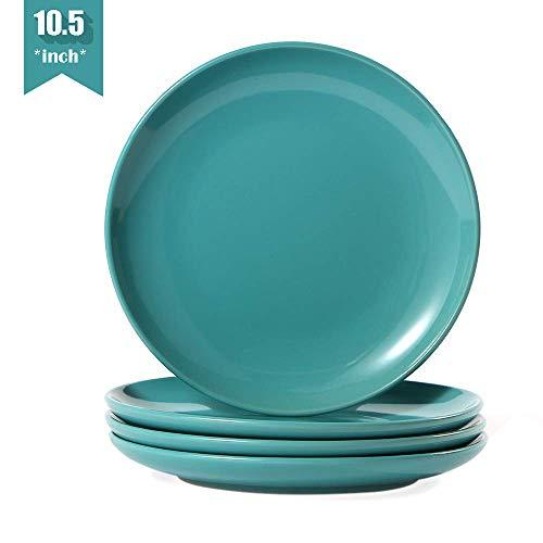 Teal Dinner Plates (Teal Dinner Plates Set of 4(10.5-Inch,4-Piece),Stoneware/Porcelain Dinner Plates Set,Turquoise Ceramic Dinner Plates,Turquoise)