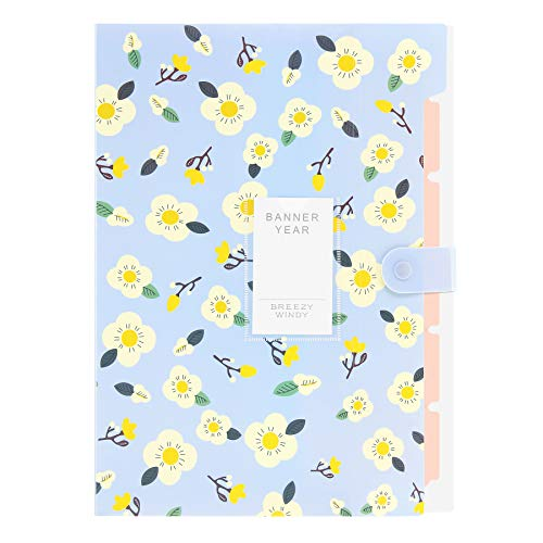 (Skydue Floral Printed Accordion Document File Folder Expanding Letter Organizer (Blue))