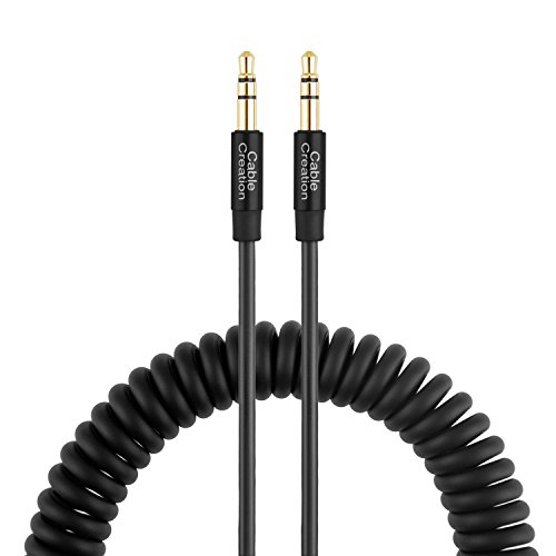 CableCreation 1~6 Ft Coiled 3.5mm Stereo Audio Cable, Aux 3.5 Audio Cord for iPhones, iPads, Samsung and other 3.5mm DC plug Port Device, Black