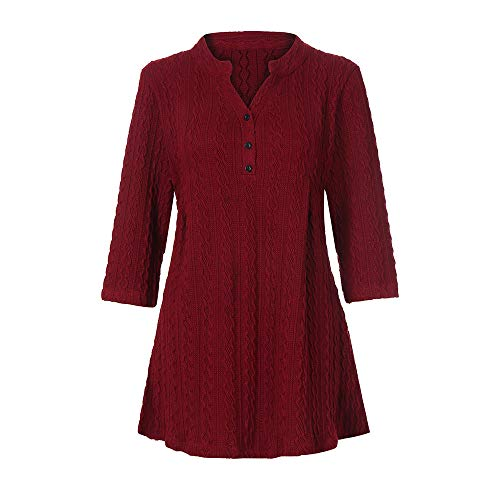 Bringbring Bouton 4 Chemise 3 Col Casual Manches en Rouge Pull Longues Chemisier Tops Femme V wqBSUS