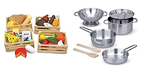 Melissa & Doug Food Groups With Melissa & Doug Stainless Steel Pots and Pans Pretend Play Kitchen and Food Set for - Hand Painted Train Toy