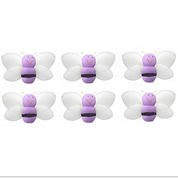 Bumblebee Decor 2u0026quot; Purple Mini (X Small) Smiling Nylon Bumble Bees 6pc