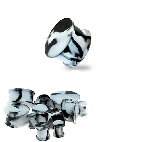 Dynamique Pair of Flexible Double Flared Flat Silicone Marble Colored Saddle Plugs ()