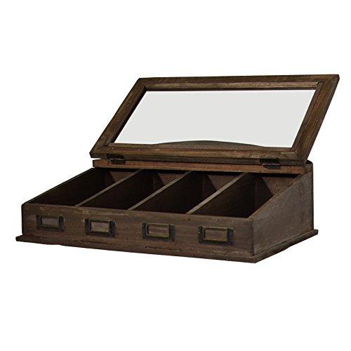 Caja de cubiertos de té estilo antigua caja de cubiertos Madera vitrée 47 cm: Amazon.es: Hogar