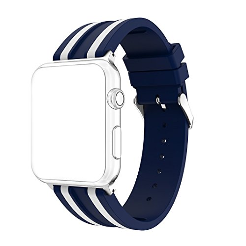 (For Apple Watch Band 38mm AISPORTS iWatch Bands 38mm Silicone Stripe Pattern Smart Watch Replacement Band with Stainless Steel Buckle Clasp for 38mm iWatch Series 3/2/1 Sport Edition - Blue/White)