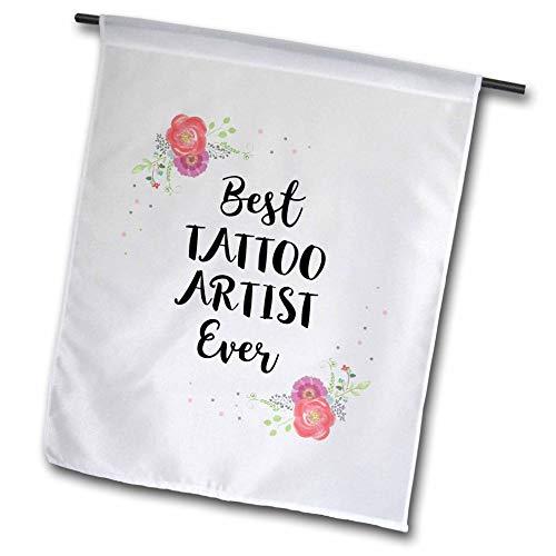 3dRose InspirationzStore - Love Series - Floral Best Tattoo Artist Ever Watercolor Pink Flowers Tattooist Gift - 18 x 27 inch Garden Flag (fl_317290_2)