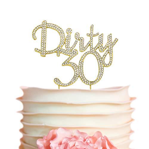 Dirty 30 GOLD Cake Topper | 30th Birthday Rhinestone Cake Topper | Thirty Birthday Party Decorations | Premium Sparkly Crystal Rhinestones | Quality Metal Alloy | Perfect Keepsake (Dirty 30 Gold) ()