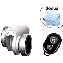 Olloclip 4-in-1 Pocket-sized Lens Kit for Iphone 6/6 Plus (Silver/White) Includes Fisheye, Wide Angle, 10x Macro and 15x Macro W/ Wearable Pendant and a Wireless Bluetooth Remote Control Camera Shutter Release Self Timer Plus a Bonus Microfiber Lens
