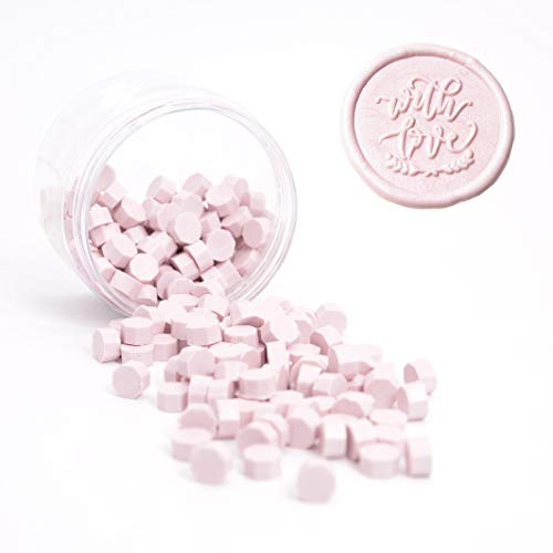 UNIQOOO Arts & Crafts 180 Pcs Pastel Sakura Pink Bottle Sealing Wax Beads Nuggets for Wax Seal Stamp, Great for Embellishment of Cards Envelopes, Wedding Invitations, Wine Packages, Gift ()