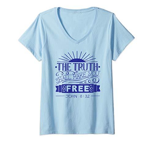Womens The Truth Shall Set You Free Jesus Christian V-Neck T-Shirt