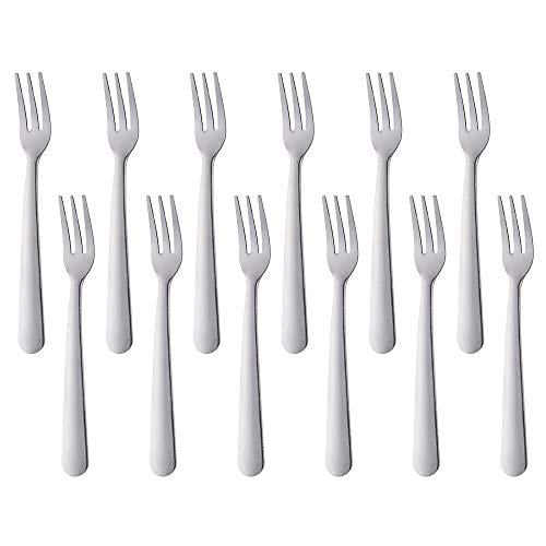 (5.5-inch Stainless stell Dessert Salad Pastry Fork Stainless Steel small Pastry fork Set of 12)