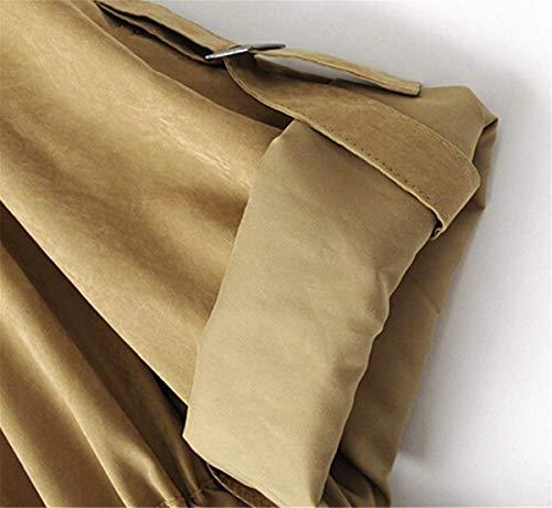 Cruzadas Delgado Correas Capa Mujer Windbreaker Elegante Outerwear Plisado Bolsillos De Con Bandage Señora Adelina Capucha Sólido Manga Otoño Cinturón Larga Color Gabardina Metal Khaki Delanteros Ropa xpw7A