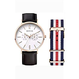(NEW) BERING UNISEX 40MM ROSE GOLD TONE STEEL CASE QUARTZ ANALOG WATCH w/LEATHER & NYLON STRAPS