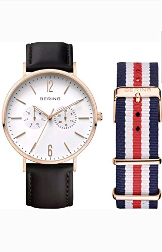 (NEW) BERING UNISEX 40MM ROSE GOLD TONE STEEL CASE QUARTZ ANALOG WATCH w/ LEATHER & NYLON STRAPS
