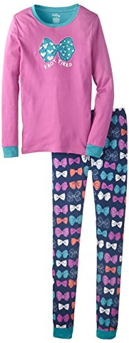 Hatley Little Girls'  Pajama Set - Party Bows Knot Tired, Purple/Blue, 6