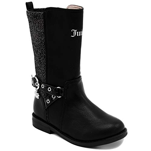 Couture Leather Pink Juicy (Juicy Couture Kids JC Lil Beverly Hills Girls Two-Tone Black/Silver Low-Heel Tall Boot 10 Toddler)