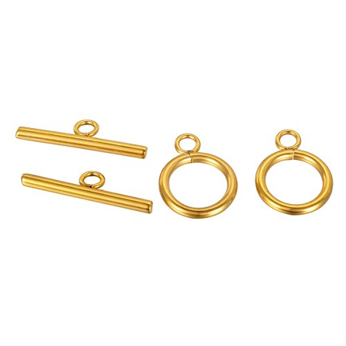 Gold Toggle - VALYRIA 3 Sets Gold Plated Stainless Steel Toggle Clasps Jewelry Findings 20mmx15mm 25mmx7mm