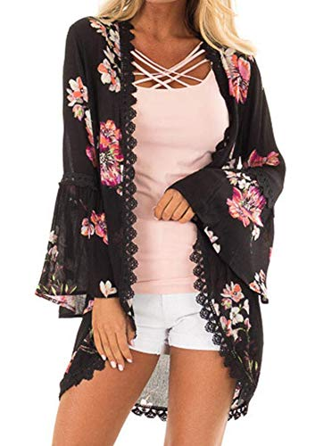 (Womens Floral Print Bell Sleeve Kimono Cover Up Lace Trim Chiffon Long Cardigan Loose Blouse Black)