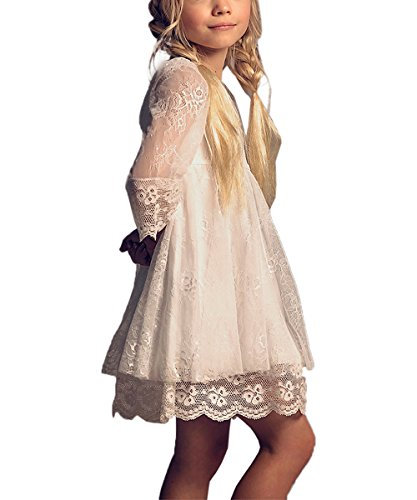Vintage Girls Lace Dresses with Sleeves Kids Party Gowns (Size 6,white) ()