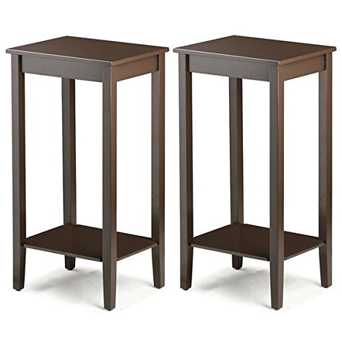 Shelve Cocktail Table Set (Yaheetech Tall Wood End Table Sofa Side Coffee Table with Lower Shelf, Brown (Set of 2))