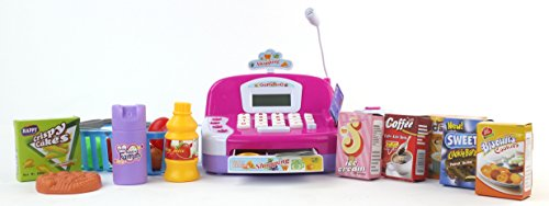 Mini-Cashier Battery Operated Toy Cash Register w/ Flashing Scanner, Working Mic, Credit Cards, Money, Basket, Food, Lights & Sounds by Velocity Toys