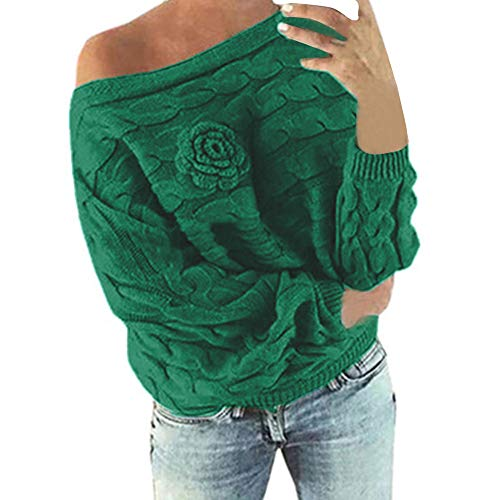 Wobuoke Womens Multicolor Striple Flower Sweater Casual Knitted Cold Shoulder Long Sleeve Pullover Blouse