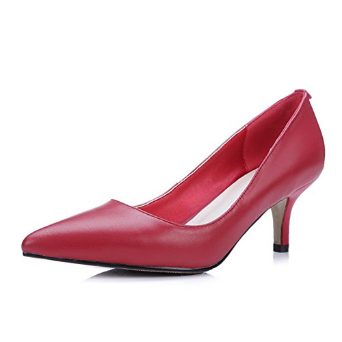 AdeeSu Womens Pointed-Toe Low-Cut Uppers Leather Pumps Shoes