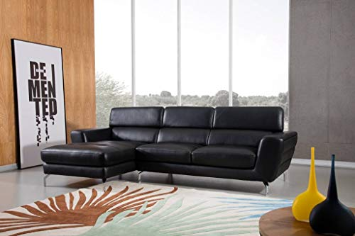(Greatime S2203 Top Grain Genuine Leather Sectional Sofa, Black, Left Facing Chaise)