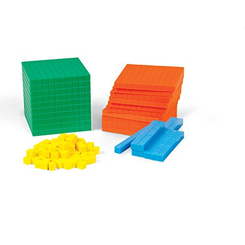 hand2mind Plastic Differentiated Base Ten Blocks, Math Manipulative Kit (Set of 121)