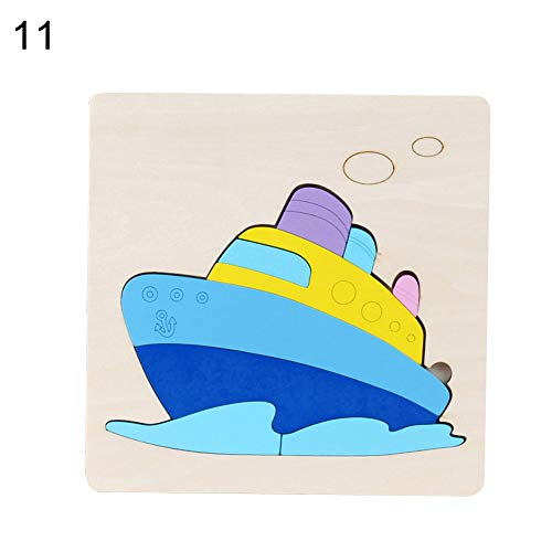 Asdf586io Wooden Animal Vehicle 3D Colorful Chunky Jigsaw Puzzle Board Education Kids Toy - Ship#