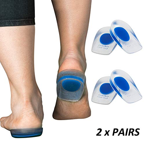 Heel Cups, Gel Feet Inserts for Pain, 4 Inches, 2 Pairs, Clear, Blue, Silicone, Shoe Insoles, Insert Spurs, Medical Foot Pad, for Plantar Fasciitis Relief, Arch Support, Achilles Tendonitis Cushion (Best Cleats For Achilles Tendonitis)