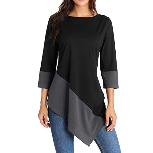 TOTOD Tops Women Fashion 3/4 Sleeve Solid Color Blouse Casua