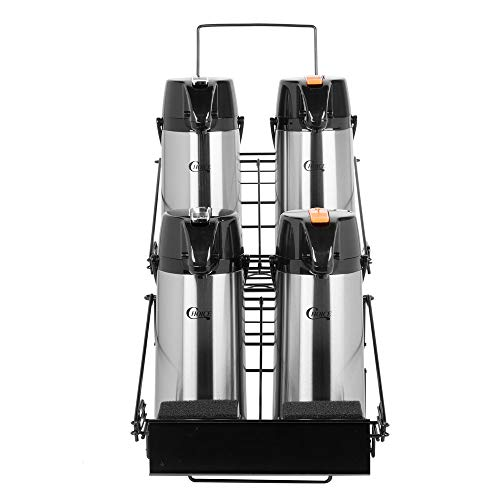 TableTop King 5-Piece Airpot Merchandising Rack Set with (1) Rack and (4) 2.2 Liter Glass Lined Airpots