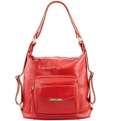 Tuscany Leather TL Bag Leather convertible bag Lipstick Red by Tuscany Leather