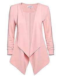 ACEVOG Womens Casual Work Office Open Front Asymmetrical Hem Cardigan Blazer Jacket
