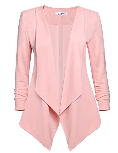 ACEVOG Womens Casual Work Office Open Front Cardigan Blazer Jacket (XX-Large, Pink) (Pink Ladies Jacket Plus Size)