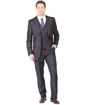 Tazio Men's Two Button Three Piece EuroSlim Suit 40S Charcoal