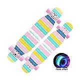 HXGL-Skateboard Professional Skateboard Longboard Boys Skateboard Professional Brush Street Dance Board Beginner Girls Boys (Color : Flash-Colorful)