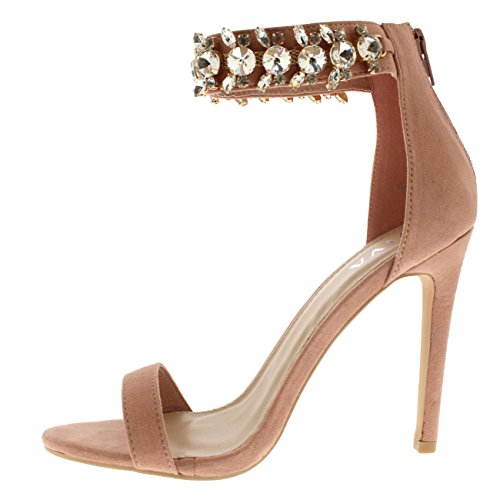 Evening Party Womens Ankle Viva Pink Strap Shoes Sandals High Diamante Heels fYdwqIqxRn