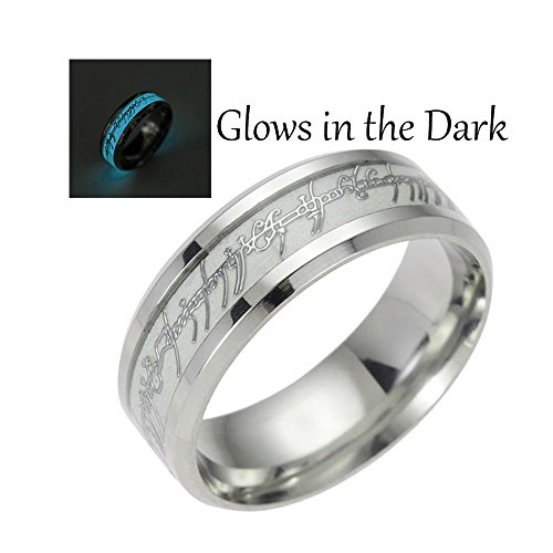 Glow in the Dark Blue Stainless Steel Wedding Band Ring - Ginger Lyne Collection
