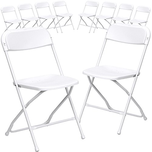 Flash Furniture 10 Pk. HERCULES Series 800 lb. Capacity Premium White Plastic Folding ()