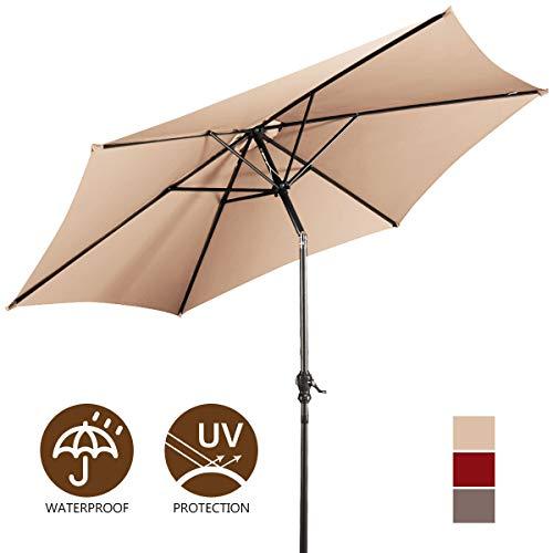 Giantex 9ft Market Patio Umbrella, Outdoor Table Umbrella w/Push Button Tilt and Crank, 180G Polyester and Sturdy Ribs, Sun Umbrellas for Market Garden Beach Pool (Parasol Sun Sun Garden Easy)