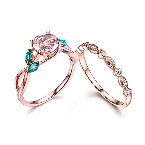 7mm-round-pink-morganite-green-emerald-floral-antique-ring-set14k-rose-gold-diamond-matching-band-se
