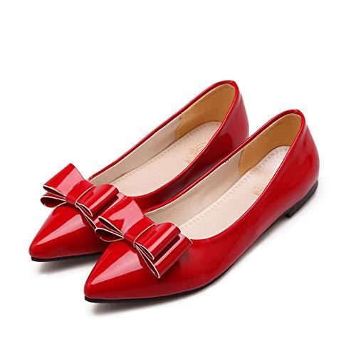 rouge HommesGLTX Talon Aiguille Talons Hauts Sandales 2019 Gros Plus Taille 34-49 Femmes Chaussures Plates Bout Pointu Chaussures D'été Bowknot Glissent sur des Chaussures Simples Confortables